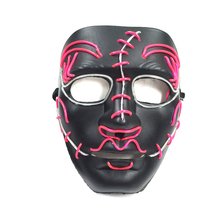 1PC Halloween Scary Ghost Dance Party Bar Environment-friendly Plastic Gorgeous Color EL Cold Light Luminous Cosplay Mask