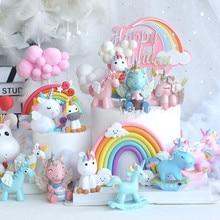 Радужный Золотой Единорог акриловый торт Топпер облако леденец форма для украшения тортов детский день рождения кекс Топпер украшения для свадебного торта