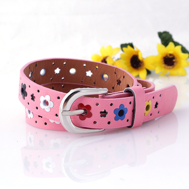 Hollow Flower Waistband Faux Leather Belt Silver Buckle KIDS CHILDREN BOYS GIRLS Neutral / Both Men And Women Imitation Leather