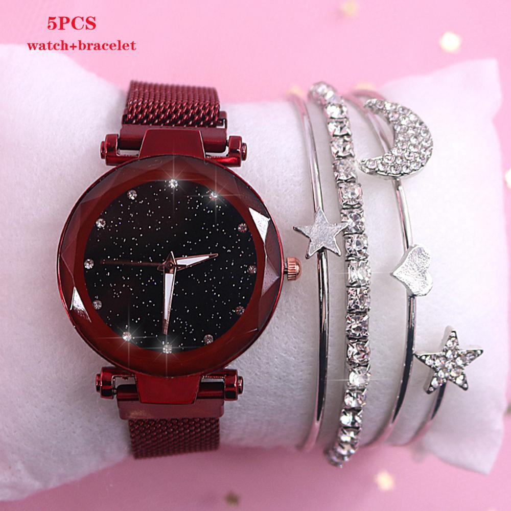 2019 nowy marka Starry Sky kobiet zegarka mody elegancki klamra magnetyczna Vibrato fioletowy złoty panie zegarek luksusowe kobiety zegarki 2