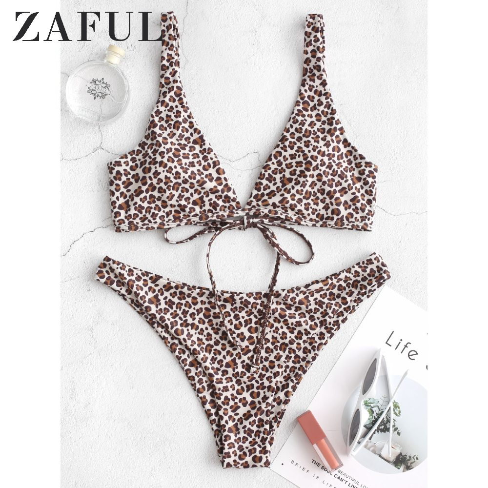 ZAFUL Leopard Back Tie Plunge Bikini Swimsuit Plunging Neck Bathing Suits 2020 Sexy Wire Free Removable Padded Women Swimwear
