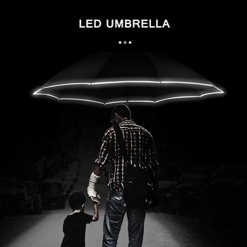 Automatic Reverse Umbrella Led Luminous Windproof 3 Folding Business Strong Umbrella Rain Men Car High Quality 10K Parasol