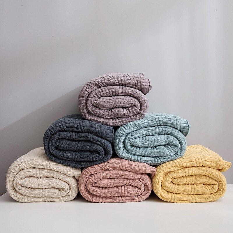 Скандинавское модное женское кашемировое Двухслойное одеяло для офиса, вязаное зимнее теплое одеяло для кровати, дивана - 4