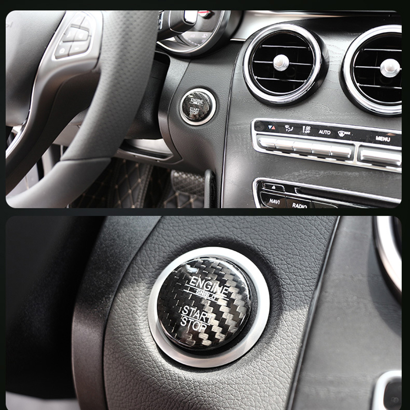 1pcs Car Dashboard Ignition Device Start Stop Engine Knobs Key Ring Sticker For Mercedes Benz AMG GLC GLE E CLA GLA W205 W211