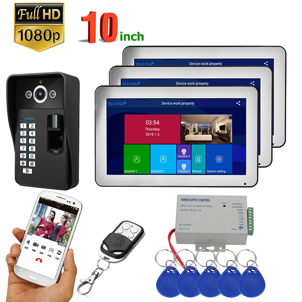 3 Monitors  10 Inch Record Wifi Wireless Fingerprint RFID Video Door Phone Doorbell Intercom System With Wired 1080P Camera