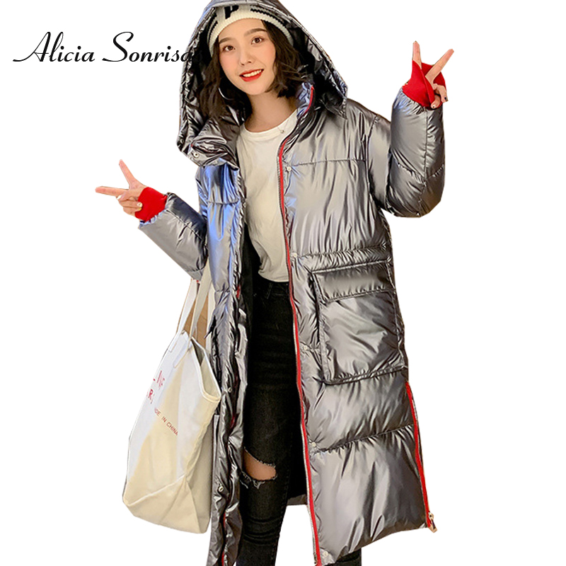 2019 Winter Glossy Down Cotton Long   Parka   Women's Waterproof Jacket Large Size Loose Winter Warm Thick Shiny Silver Coats