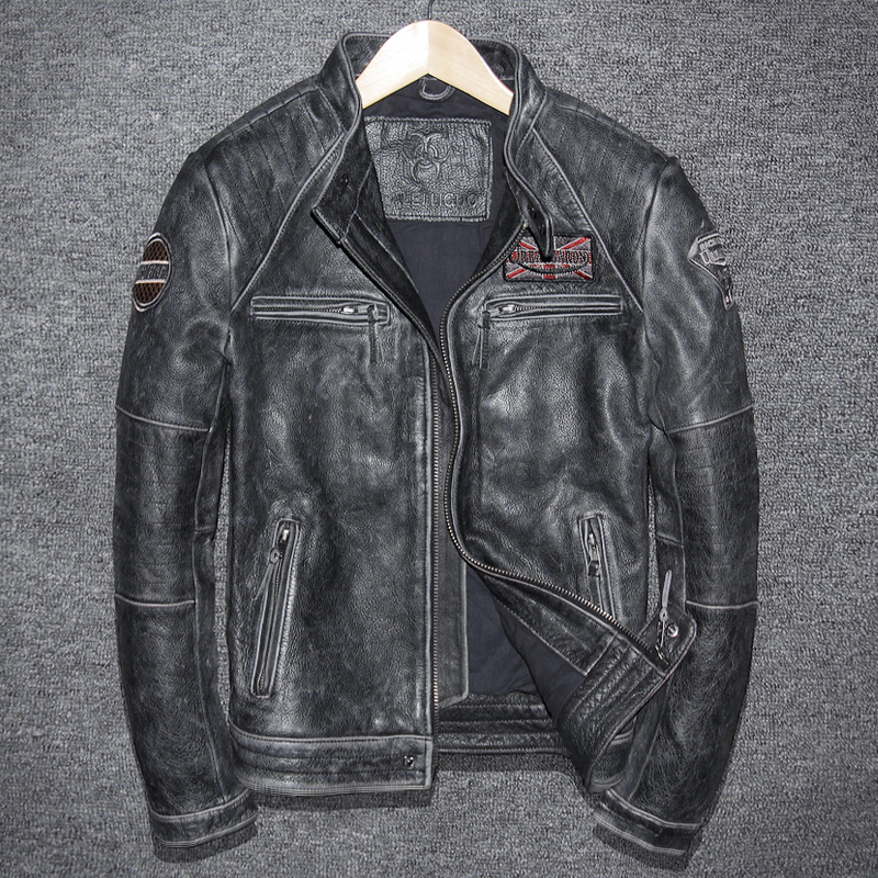 Geniune Leather Jacket For Men Pure Cow Leather Vintage Jacket Spring Autumn Plus Size Jaqueta De Coruo 5680-1 MF124