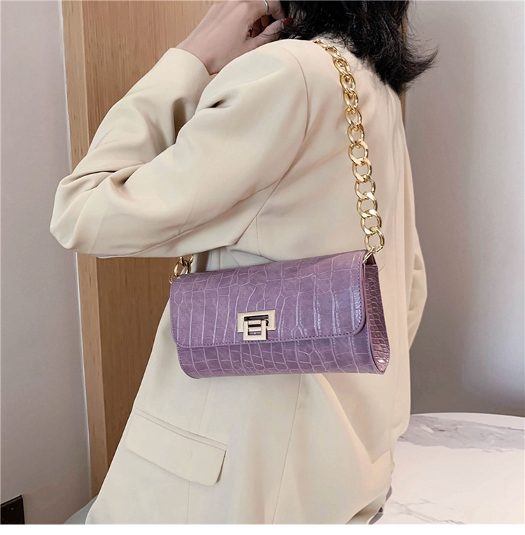 Crocodile Pattern Vintage Soild Color Small Square Bag For Women 2020 summer Handbag And Small Chain Bags Fashion Armpit Bag (4)