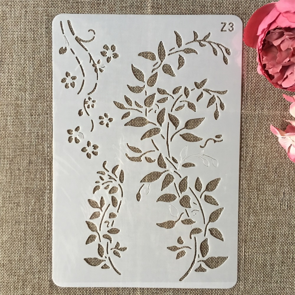 Купить с кэшбэком 26cm Leaves DIY Layering Stencils Wall Painting Scrapbook Coloring Embossing Album Decorative Card Template