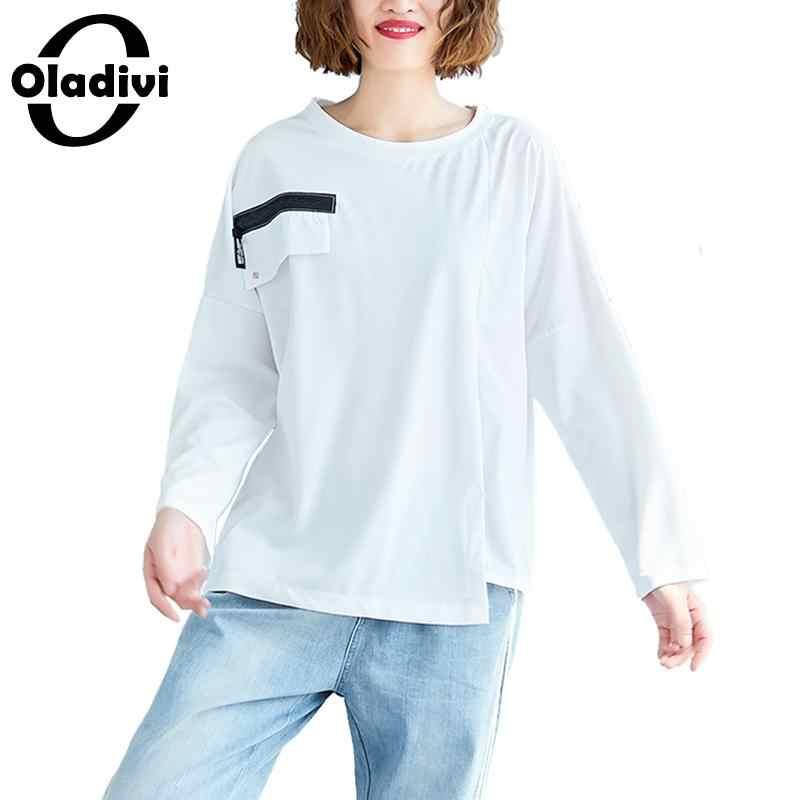 Oladivi Donne Più di Formato Irregolare T-Shirt da Donna A Maniche Lunghe T Shirt Femminile casual Allentato Top Tunica Femminile Blusas 5 Colori