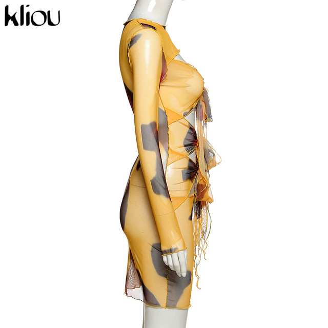 Kliou Mesh Fabic Tied Front Hollow Out Printed Mini Dress Women See Through Stretchy Skinny Tassel Ruffles Sexy Party Clubwear 5