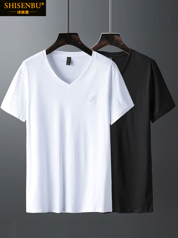 Brand Luxury V Neck Ice Silk T Shirt Men 100% Pima Cotton Mercerized Short Sleeve T-Shirt R Embroidery Solid Color Summer Top