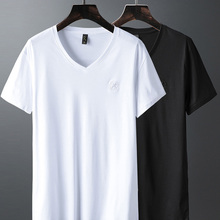 Brand Luxury V Neck Ice Silk T Shirt Men 100% Pima Cotton Me