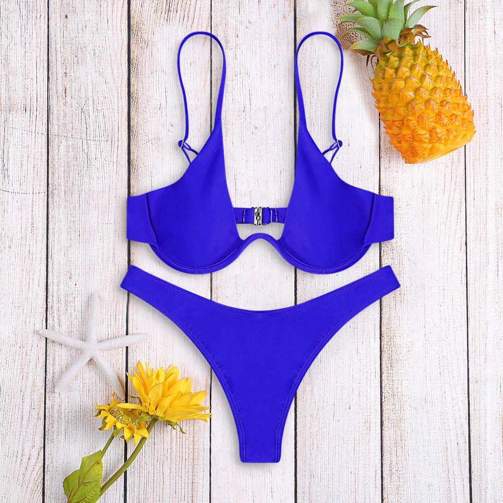 Women Sexy Bikini Set Plunging Neck Thong Low Waisted Bikini Underwired Bathing Suit Bikini Swimwear Beach Suit 3