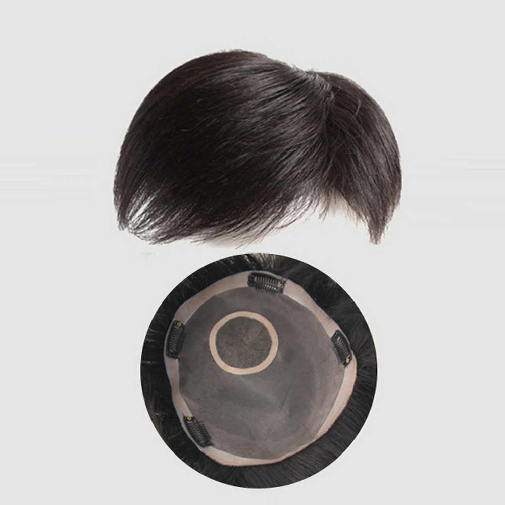 WTB Synthetic Hair Clip In Toupee Hairpieces Straight Topper Hair with Bangs for Man Natural Black Classic Burr Fashion Airplane