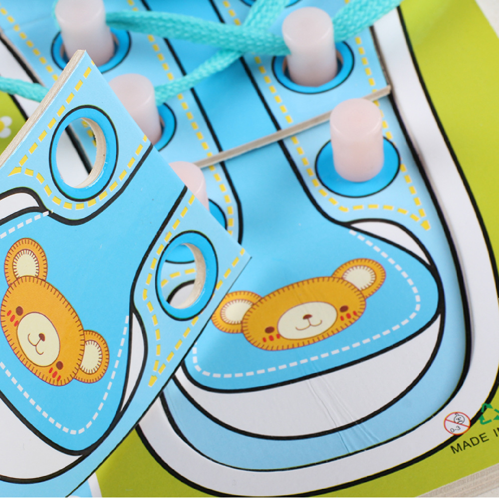 Children Learning Wear Of Shoe Lace Wooden Wearing Rope Kindergarten Early Childhood Educational Force Ability Teaching Toys