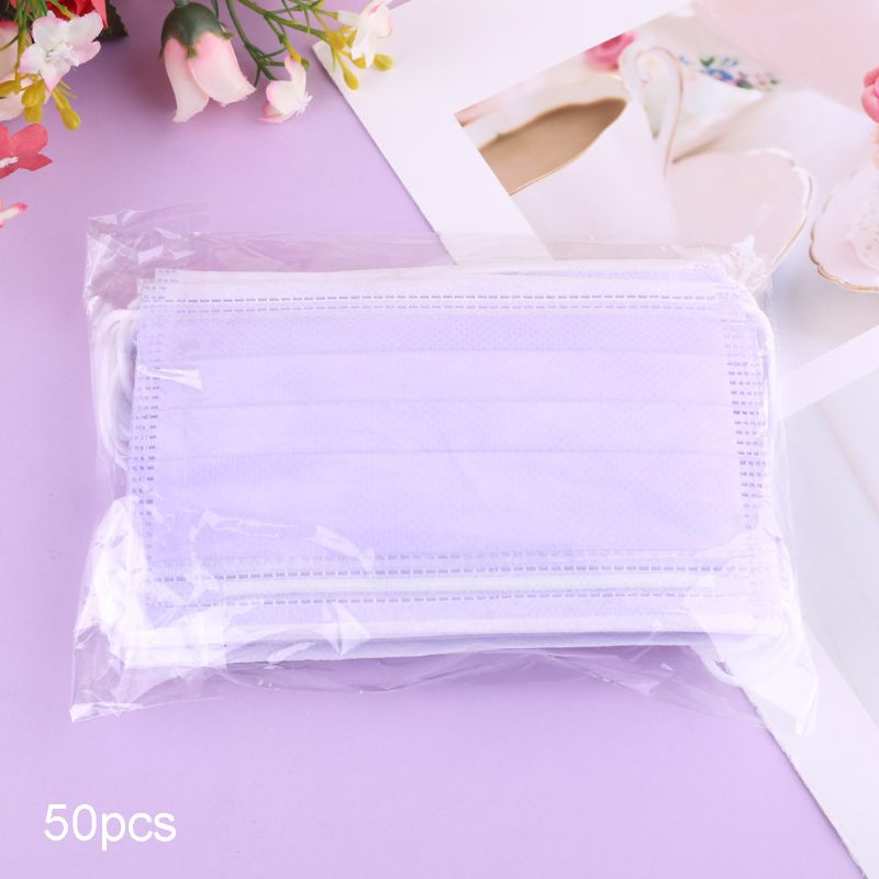 50pcs Purple Anti-fog Anti-PM2.5 Anti-Dust Disposable Face Mask Breathable Mouth Mask For Children Kids Girls Boys Students