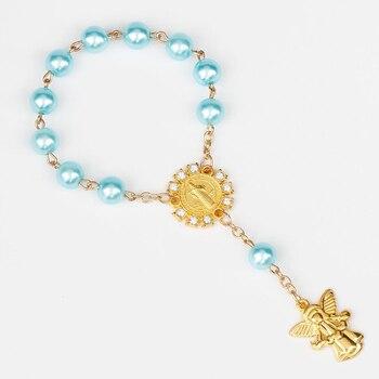 Imitation Pearl Beads Catholic Rosary Catholic Holy Communion Angel Wings Crucifix Pendants Bracelet Nice Gifts