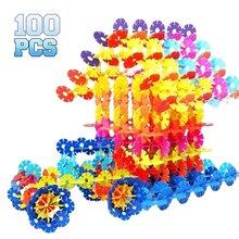 100pcs/300pcs Plastic Snowflake Interconnecting Blocks Building& Construction Toys Children 3D Puzzle Kindergarten Baby Toy