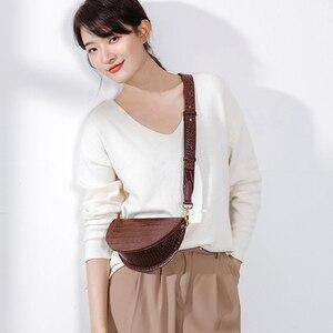 Image 2 - MABULA Mode Krokodil Halbkreis Crossbody Tasche Sattel Taschen Schulter Tasche PU Leder Luxus Handtasche Für Frauen Umhängetasche