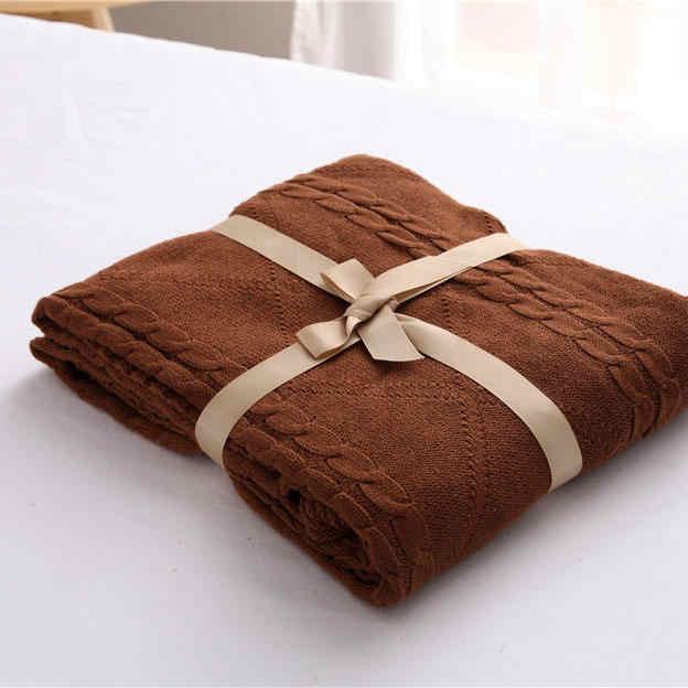 100% хлопок высокого качества ручной работы Мягкий Вязаный плед зеленый, бежевый, красный, коричневый, синий, белый, серый, розовый вязать одеяло