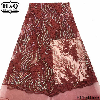 H&Q latest french net lace fabric 2020 high quality embroidery nigerian tulle fabrics african sequins laces for garment sewing