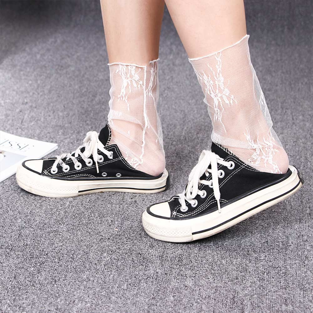 Women's Harajuku Socks Ladies Breathable Transparent Floral Lace Socks Sweet Mesh Fishnet Socks Soft Funny Socks Hosiery Sox