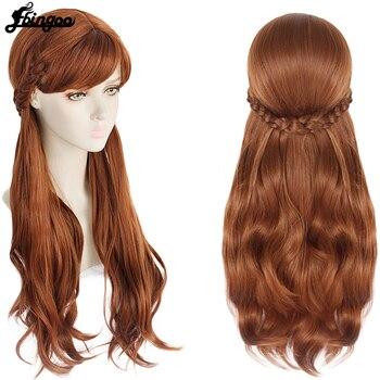 Ebingoo Anime Princess Anna Cosplay Wig  Double Braided Blonde Brown Synthetic Cosplay Halloween Costume Wigs+Hair Cap цена 2017