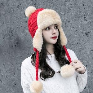 Image 4 - Frauen Trapper Hüte Winter Warm Faux Fox Pelz Bomber Hut Beanies Russische Uschanka Wolle Stricken Pom Pom Ohrenklappen Aviator Caps