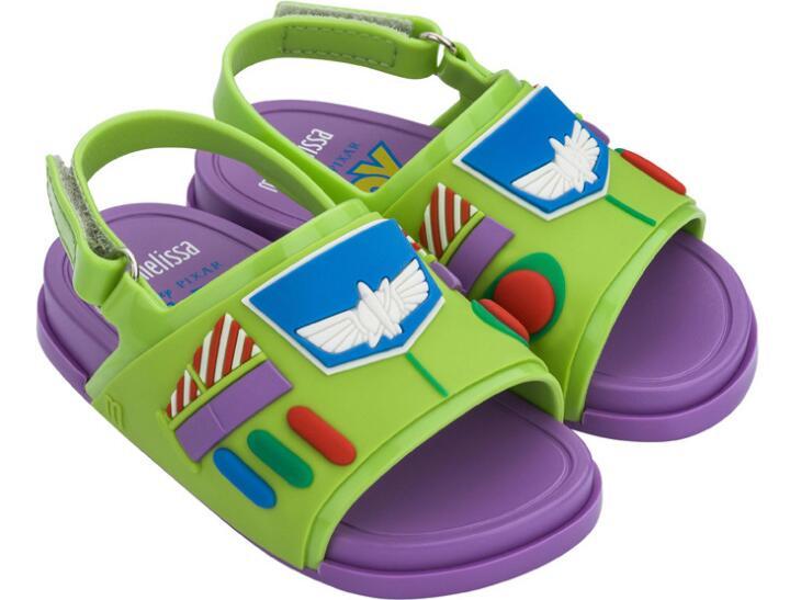 Mini Melissa Beach Slide + Toy Story Boy Girl Jelly Shoes sandalias de playa zapatos de bebé Melissa sandalias niños antideslizante princesa VIISENANTIN, oferta, sexy, rojo, negro, Cuero brillante, sandalias de verano para mujer, cristal de piedras preciosas, sandalias de tacón grueso, correa de tobillo