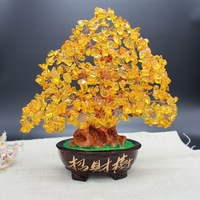 Crystal Money Tree Bonsai Style Feng Shui for Wealth Luck Home Office Decor Birthday Gift Wealthy and Lucky Tree with Pot Base