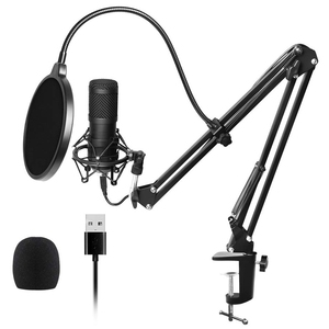 Usb Streaming Podcast Pc Microphone Professional Studio Cardioid Condenser Mic Kit with Sound Card Boom Arm Shock Mount Filter,(China)