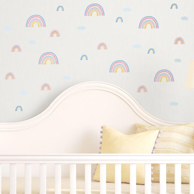 מדבקות עננים וקשת וענן עשוי PVC עמיד מים, לקישוט חדרי ילדים 4