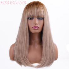 Long Black Brown Ombre Wigs High Temperature Fiber Synthetic Wigs For Black/White Women Glueless Straight Cosplay Wigs