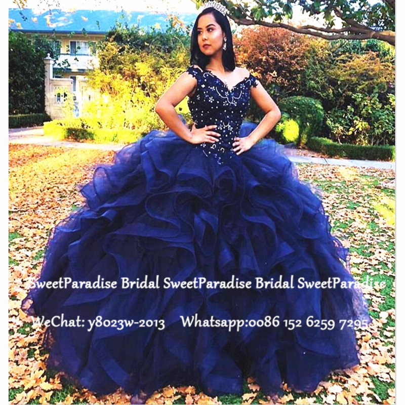 Royal Blue Quinceanera Dresses Luxury Beads Crystal Cascading Ruffles Ball Gown Vestidos De 15 Anos Sweet 16 Prom Dress Pageant