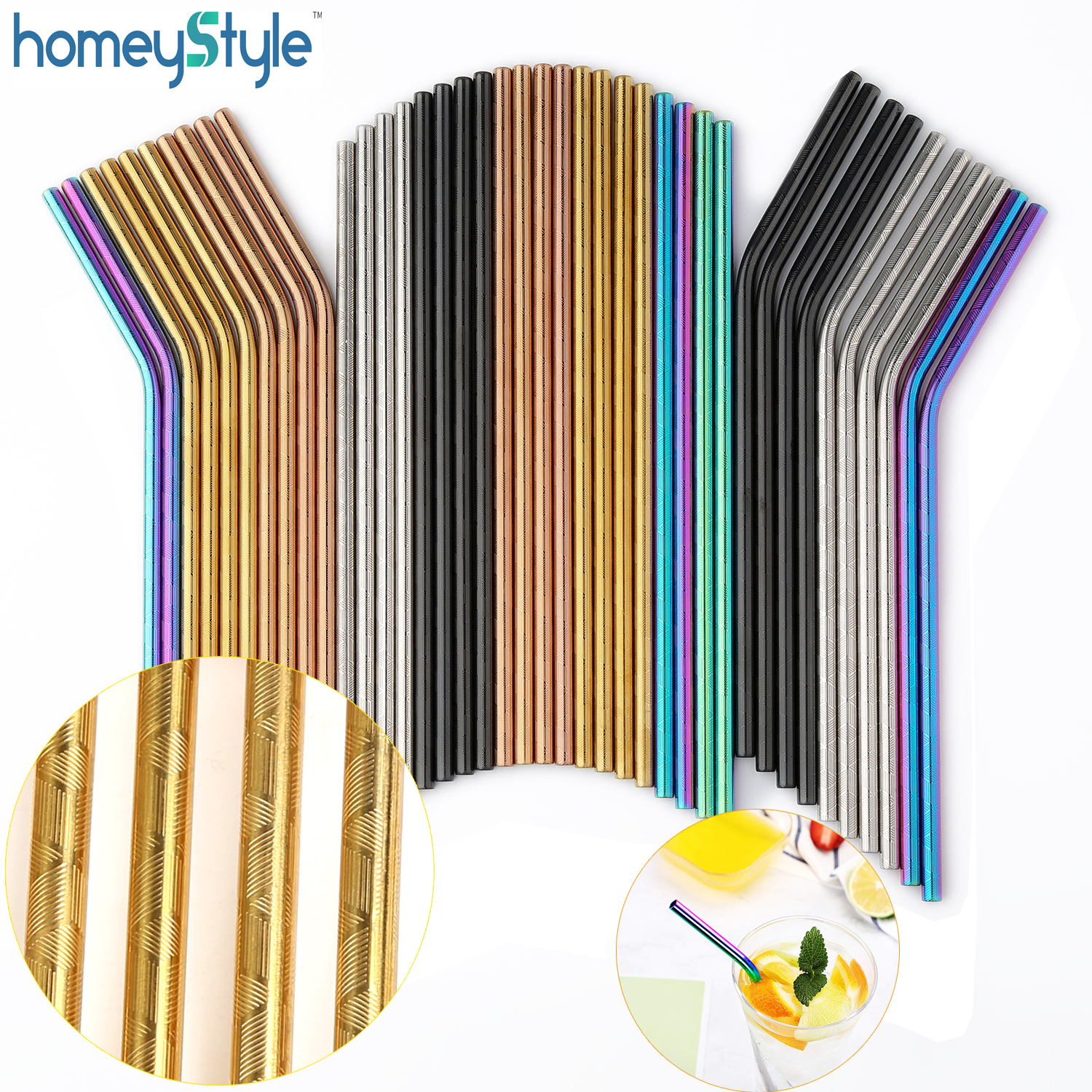 100 Pcs Patterned Wholesale Metal Straws Colorful Reusable Stainless Steel Drinking Tubes E co Friendly Portable