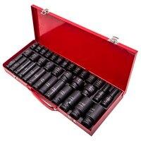 35x Lug Nut Deep Impact Socket Set 6 Point 1/2 Drive Garage Tool 8 32mm 21 22 23 24 27mm