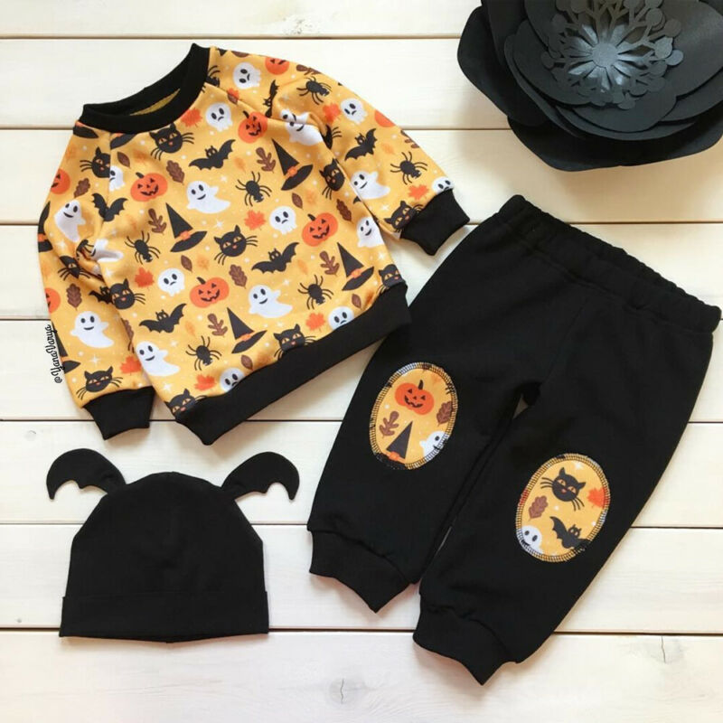 3PCS Toddler Kids Baby Girl Clothes Boy Halloween Clothing Sweatshirt Pants Tracksuits