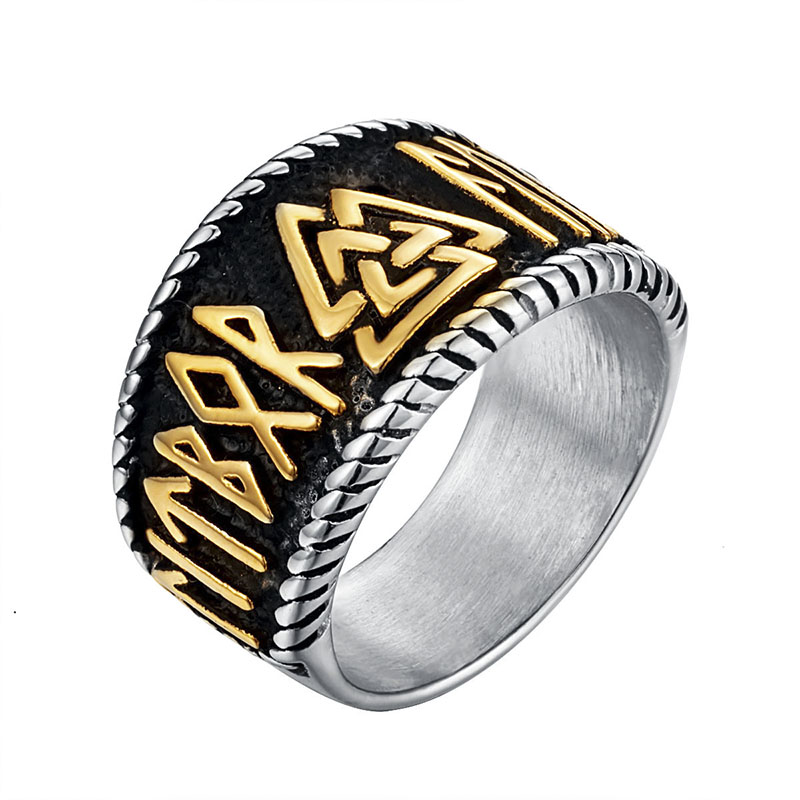 Stainless Steel 2 Color Celtic Knot Biker Band Ring