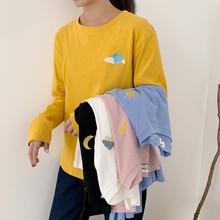 5 Colors Long Sleeve Embroidery Tshirt Women Korean Style Sun Cartoon Moon White T Shirt Pink Harajuku Autumn Black Top Femme