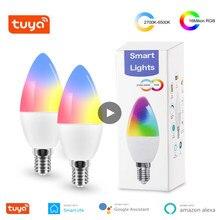 Tuya E14 luz WiFi inteligente bombilla RGB 5W + C lámpara LED regulable AC 110-240V temporizador de Control de voz bombilla casa decoración al aire libre bombillas LED