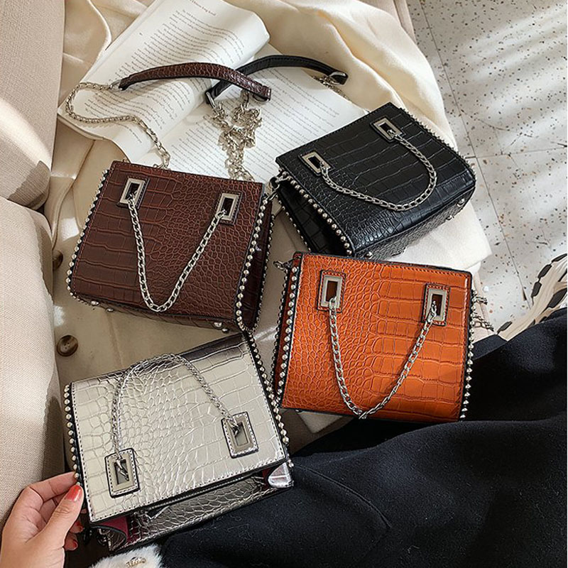 Crocodile Pattern Crossbody Bags For Women Luxury Handbags Women Messenger Bags Designer Metal Chain Tote Bags Shoulder Bag 202