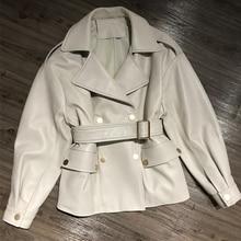 Women Real Lambskin Jacket Skirt Style with Belt Real Leather Fashionable Sweet Women Streetwear Pure Leather Jacket