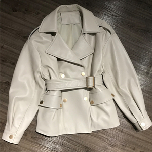Image 1 - Women Real Lambskin Jacket Skirt Style with Belt Real Leather Fashionable Sweet Women Streetwear Pure Leather Jacket
