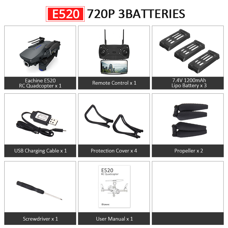 Eachine E520S E520 gps FOLLOW ME wifi FPV Квадрокоптер с 4 K/1080 P HD широкоугольная камера Складная Высота удержания прочный Радиоуправляемый Дрон - Цвет: E520 720P 3Batteries