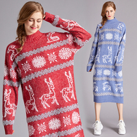 Autumn Winter Long Dress Women High Fashion Christmas Festival Holidays Style Deer Snow Jacquard Knit Long Wool Sweater Dress