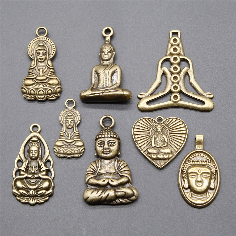 5pcs Charms Buddha Vintage Antique Bronze Color Buddhism Buddha Charms Pendant Jewelry Buddha Statue Charms Jewelry Accessories