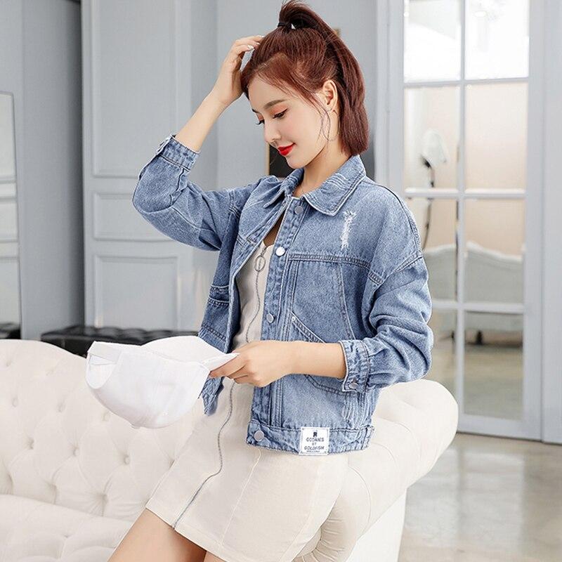 Coreano curto denim jaqueta mulher rasgado jeans