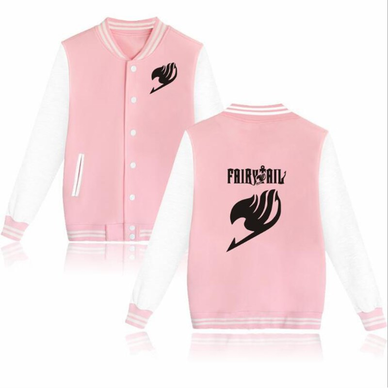 New Fashion Anime Fairy Tail Natsu Baseball Jacket Mens Jackets Slim Fit Coat Autumn Winter Hip Hop Streetwear Jacket Plus Size