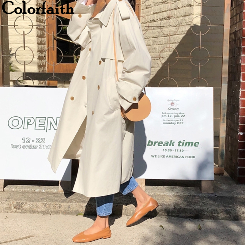 Colorfaith New 2019 Autumn Winter Women   Trench   Sashes Lace Up Double Breasted Fashionable Office Lady Korean Style Elegant Casual Long Coat Outerwear JK111